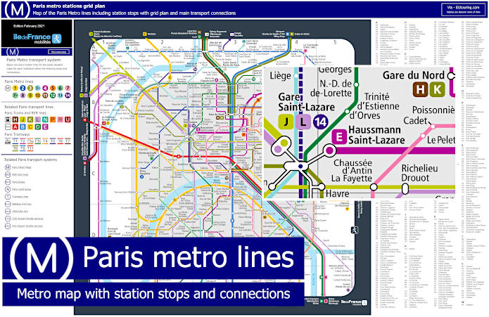 Paris Metro Maps Plus 16 Metro Lines With Stations