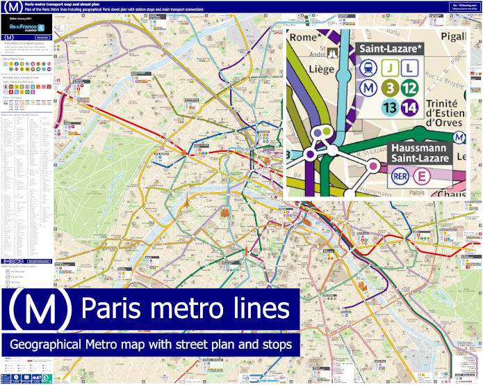 Paris Metro Map With Street Plan