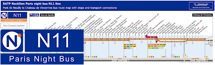Paris Night Bus Map N11 With Stops