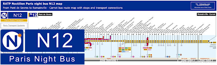 Paris Night Bus Map N12 With Stops