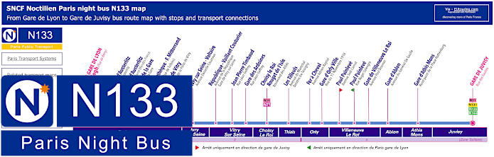Paris Night Bus Map N133 With Stops