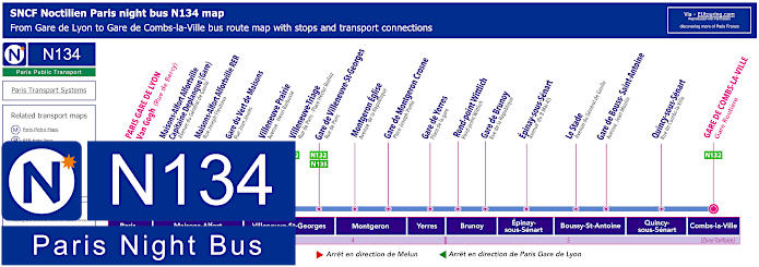 Paris Night Bus Map N134 With Stops