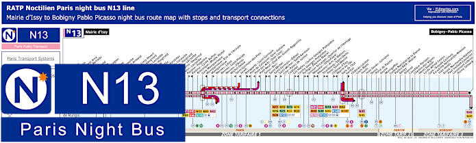 Paris Night Bus Map N13 With Stops
