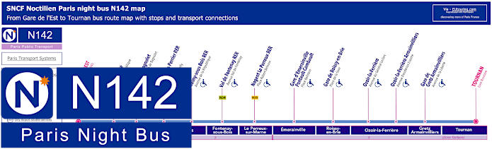 Paris Night Bus Map N142 With Stops
