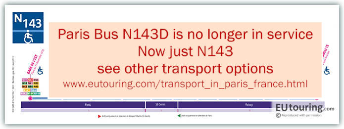 Paris Night Bus Map N143 Disabled With Stops