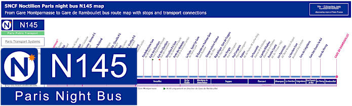 Paris Night Bus Map N145 With Stops