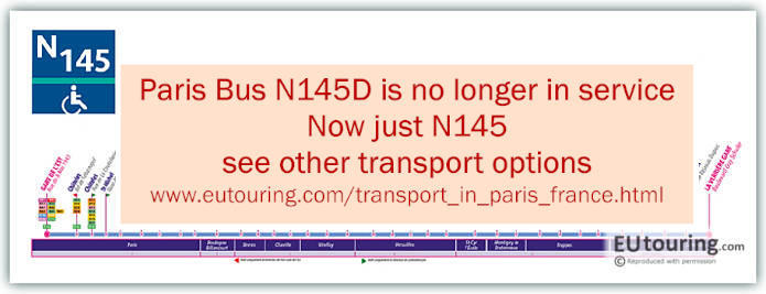 Paris Night Bus Map N145 Disabled With Stops