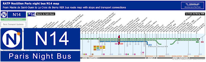 Paris Night Bus Map N14 With Stops