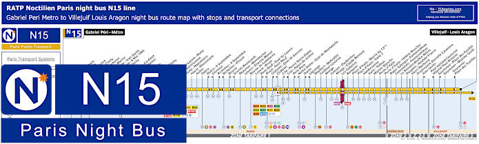 Paris Night Bus Map N15 With Stops