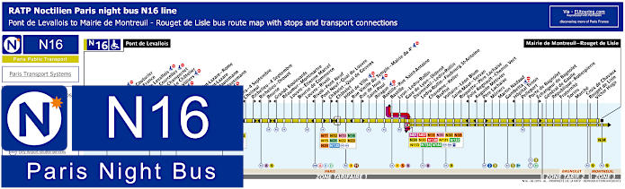 Paris Night Bus Map N16 With Stops
