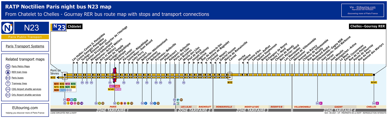 Noctilien Bus Maps For Paris Night Bus Lines N20 To N29
