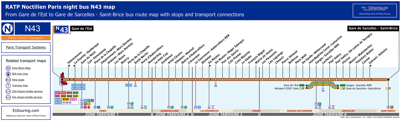 noctilien bus maps for paris night bus lines n40 to n49