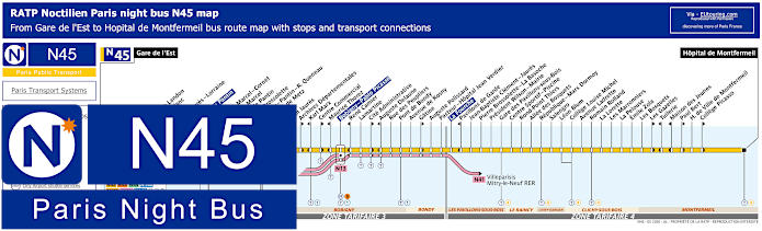Paris Night Bus Map N45 With Stops