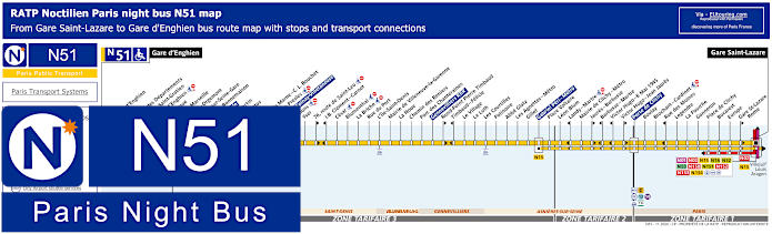 Paris Night Bus Map N51 With Stops
