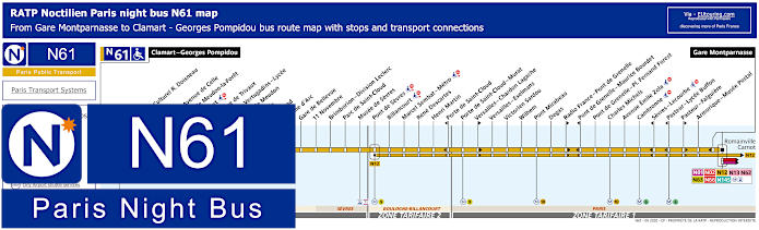 Paris Night Bus Map N61 With Stops