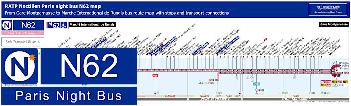 Paris Night Bus Map N62 With Stops