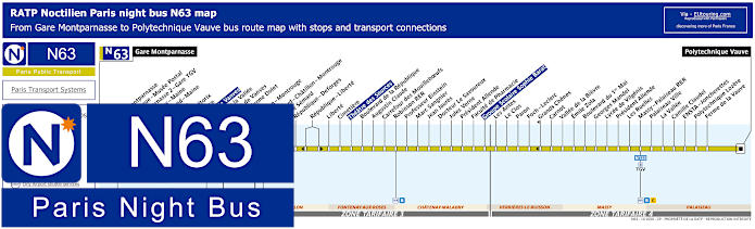 Paris Night Bus Map N63 With Stops