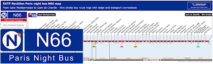 Paris Night Bus Map N66 With Stops