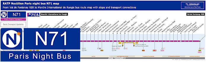 Paris Night Bus Map N71 With Stops