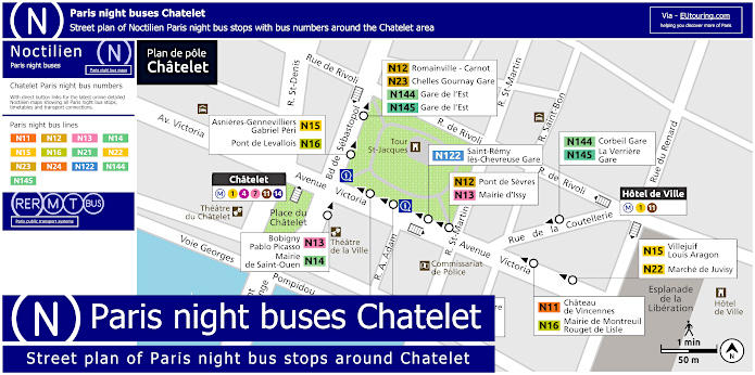 Paris Night Bus Stops Arouns Chatelet