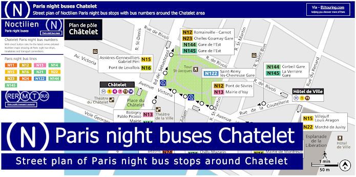 Paris Night Bus Stops Arouns Chatelet