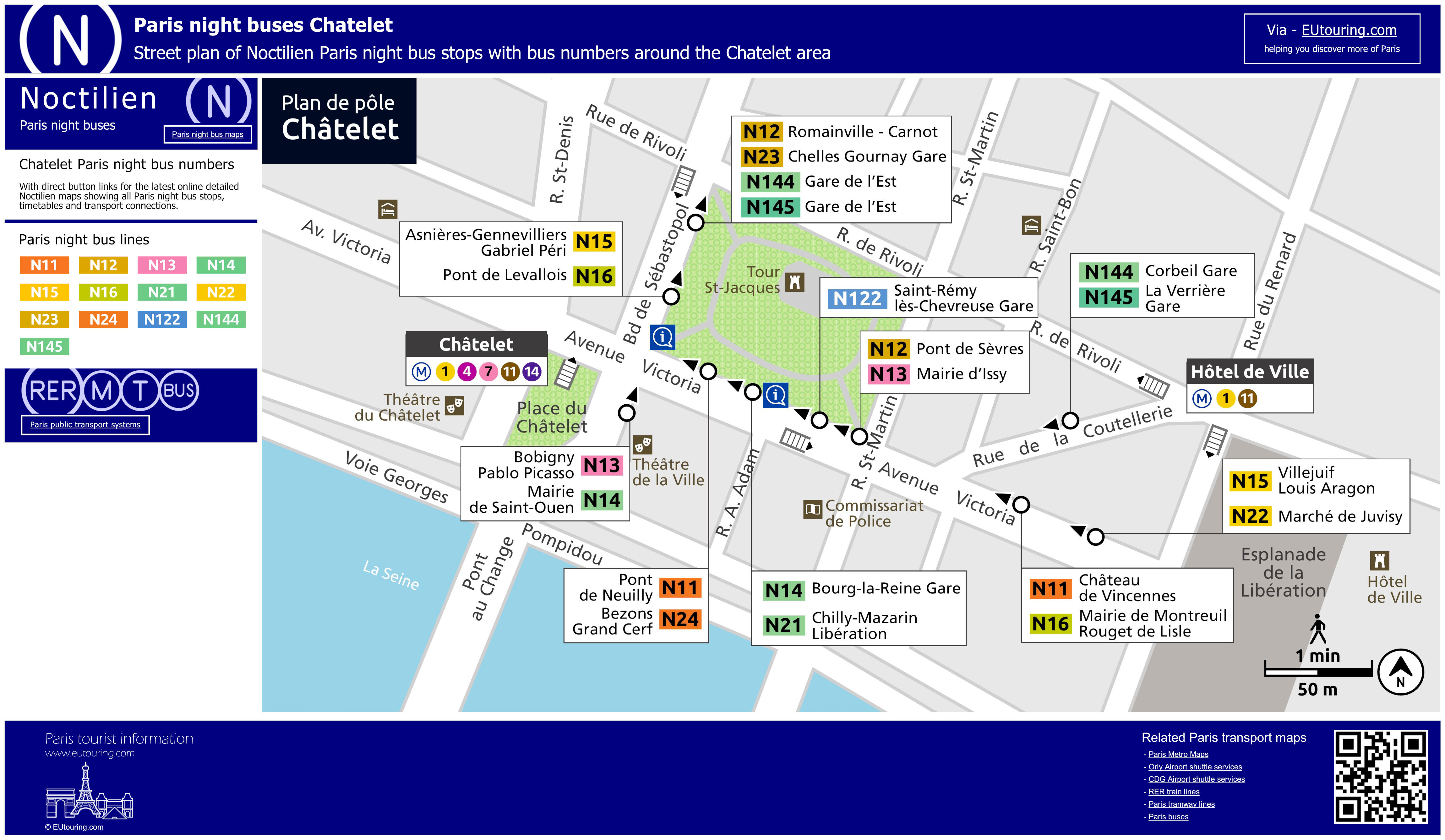 Noctilien bus maps with stops for Paris night buses