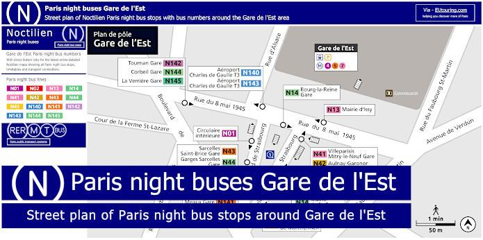 Paris Night Bus Stops Around Gare De l'Est