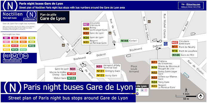 Paris Night Bus Stops Around Gare De Lyon