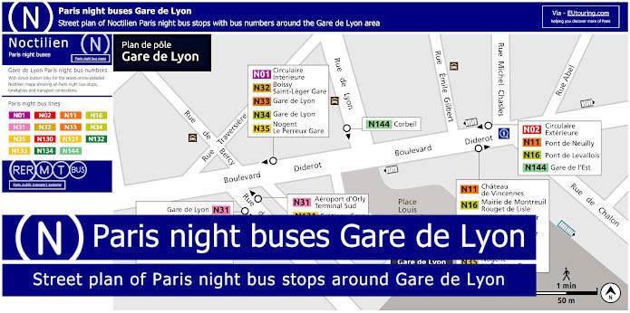 Paris Night Bus Stops Around Gare De Lyon