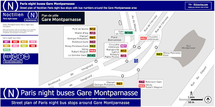 Paris Night Bus Stops Around Gare Montparnasse