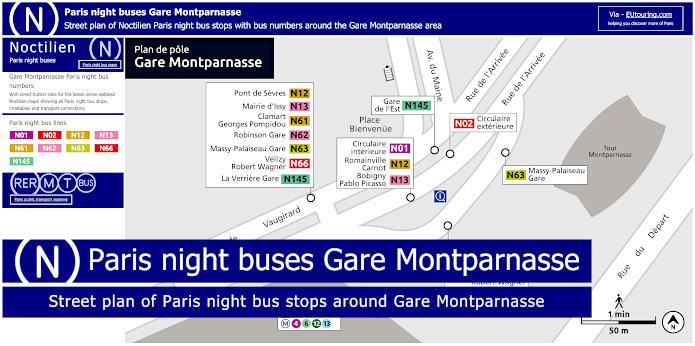 Paris Night Bus Stops Around Gare Montparnasse