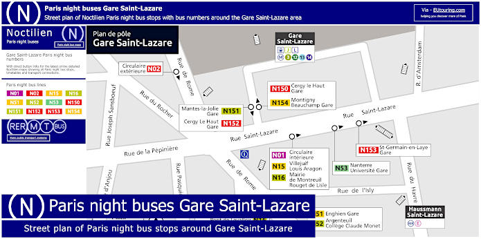 Paris Night Bus Stops Around Gare Saint-Lazare