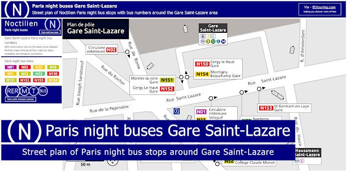 Paris Night Bus Stops Around Gare Saint-Lazare