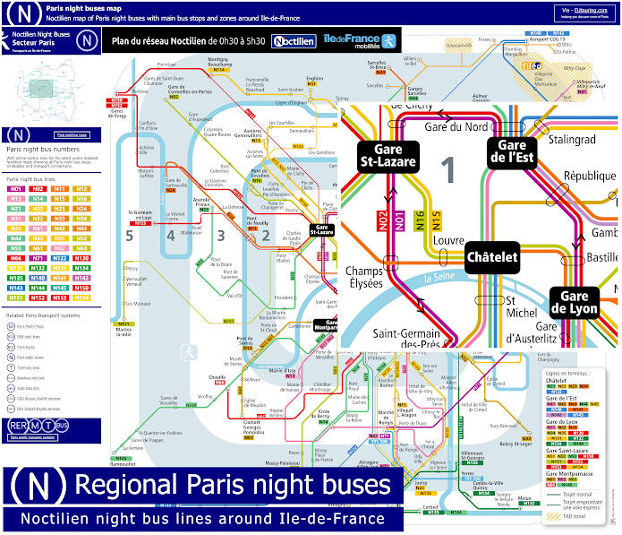 Noctilien Map Night Buses In Paris