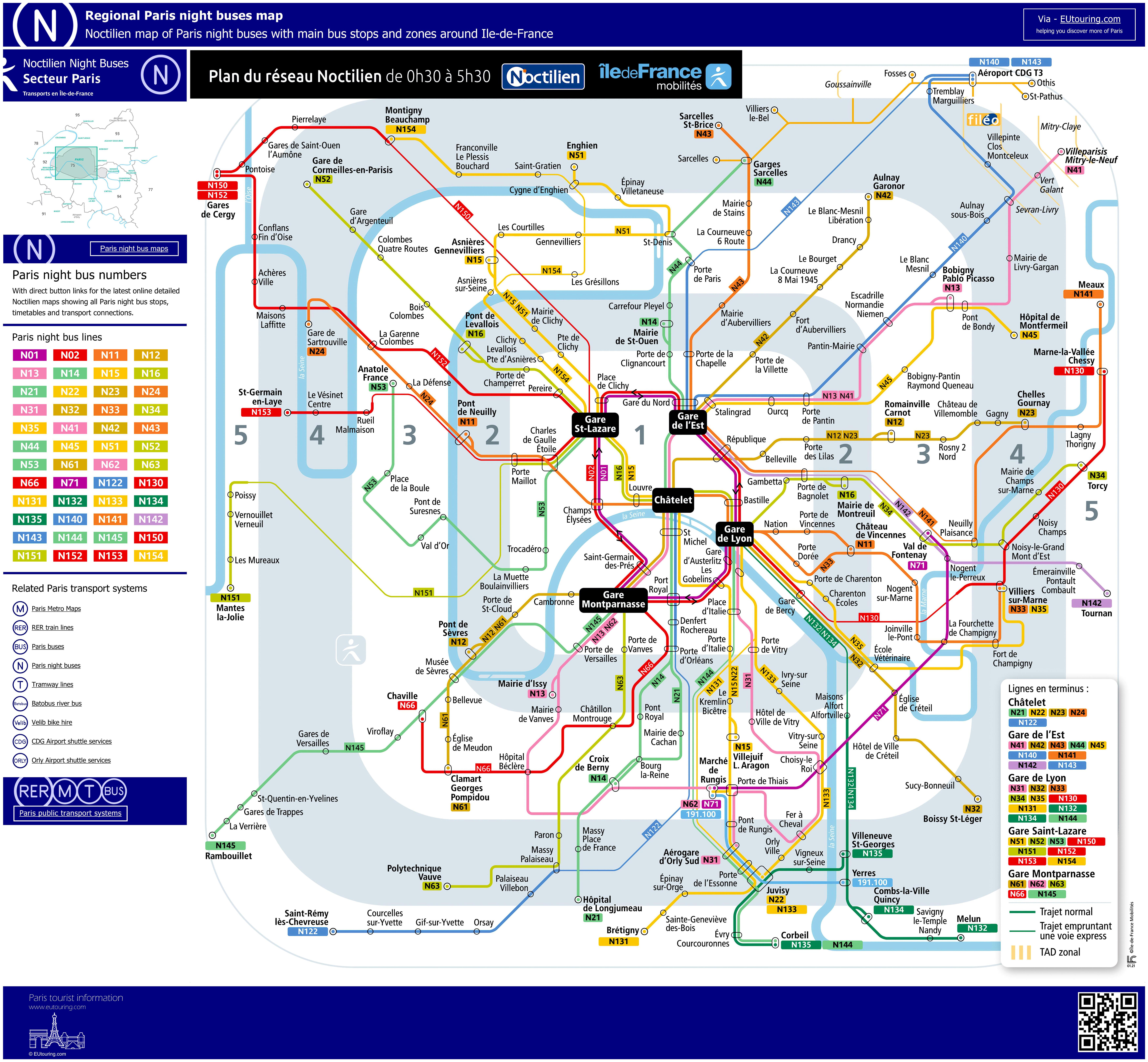 Noctilien Bus Maps With Stops For Paris Night Buses - Bus map paris france