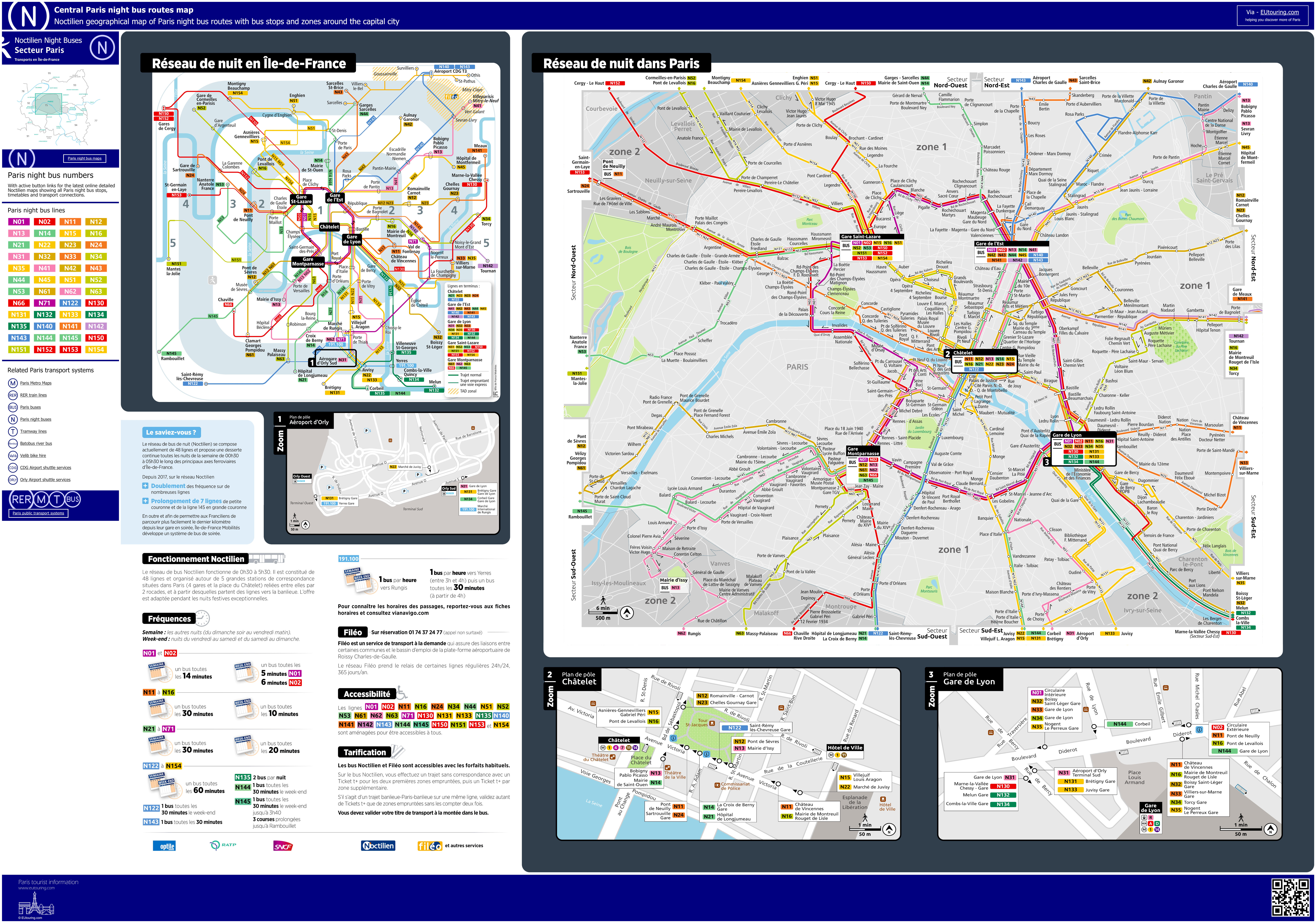 Geographical Map Of France.Noctilien Bus Maps With Stops For Paris Night Buses
