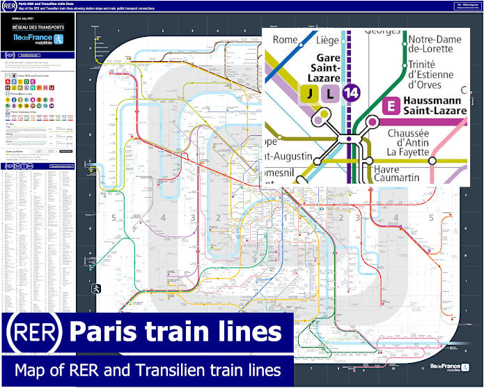 paris rer train map