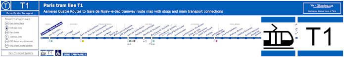 Map Of Paris Tram Line T1