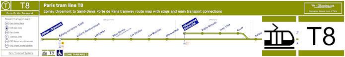 Map Of Paris Tram Line T8