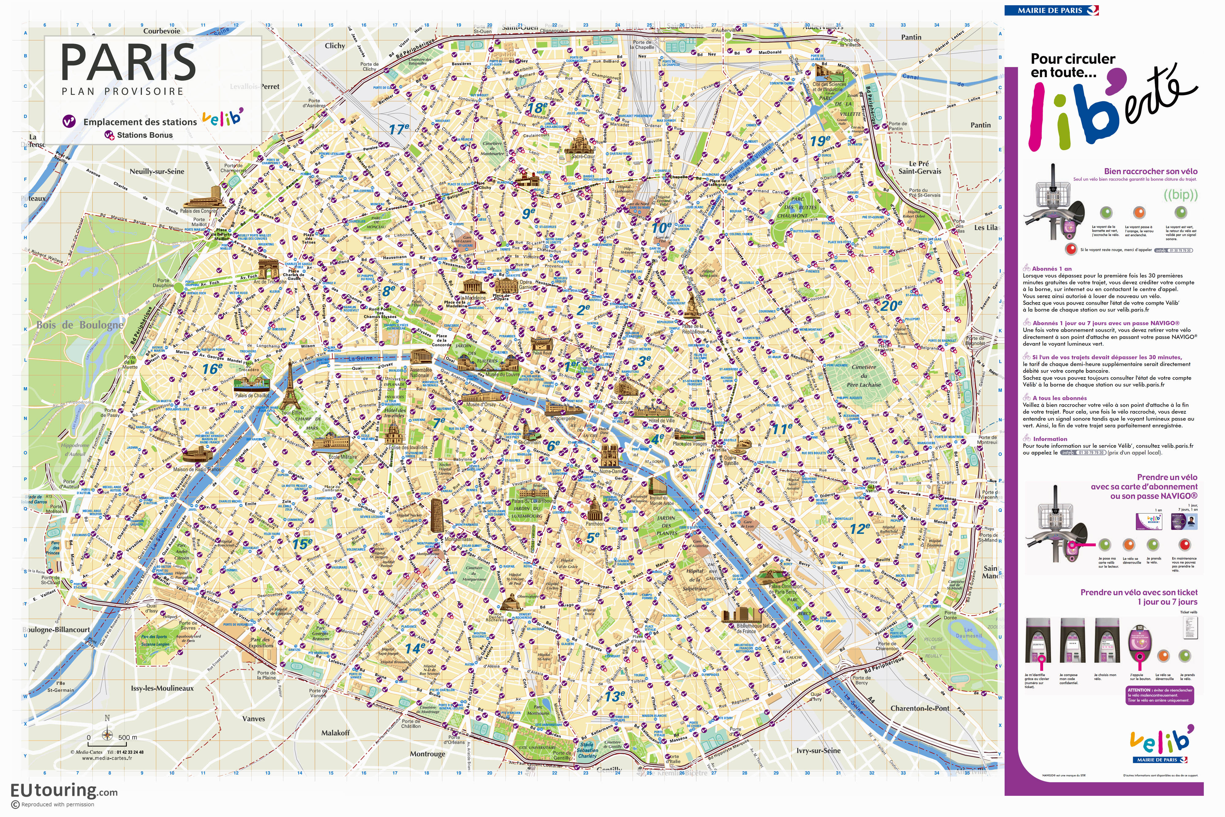 Paris Velib station maps in PDF and image file formats on