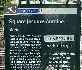 Tourist Information Board Square Jacques Antoine