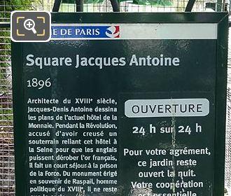 Tourist Information Board Square Jacques Antoine