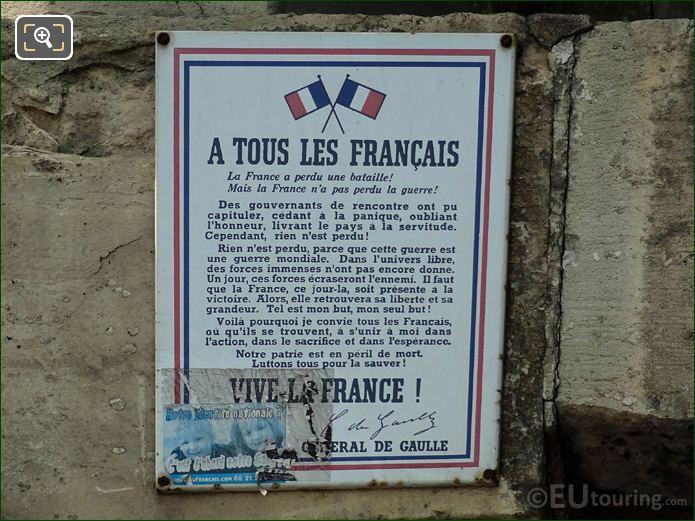 General Charles De Gaulle Speech Place Denfert-Rochereau