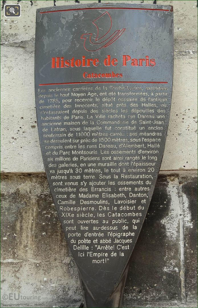 Tourist Information Board For Paris Catacombes
