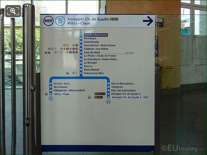 Info Board RER B Line Charles De Gaulle