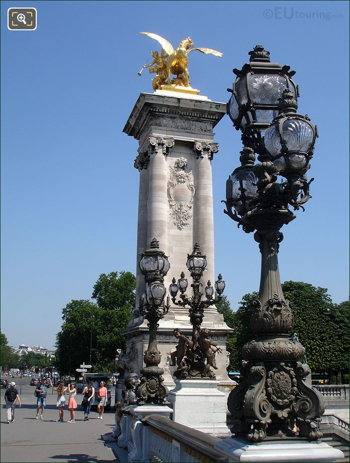 Pont Alexandre III Ornamental Lamp Posts And Gilded Statue