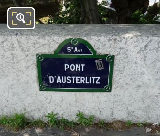 Pont d Austerlitz Plaque 5th Arrondissement