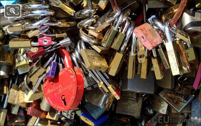 Engraved Love Locks On The Lovers Bridge
