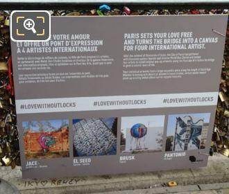 2015 Artists Information Board Pont Des Arts