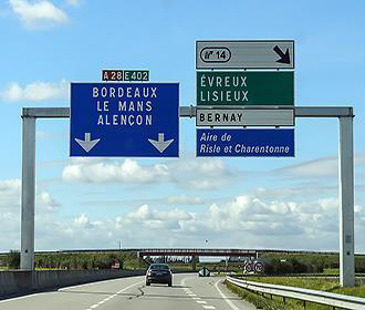 A28 road sign over French road